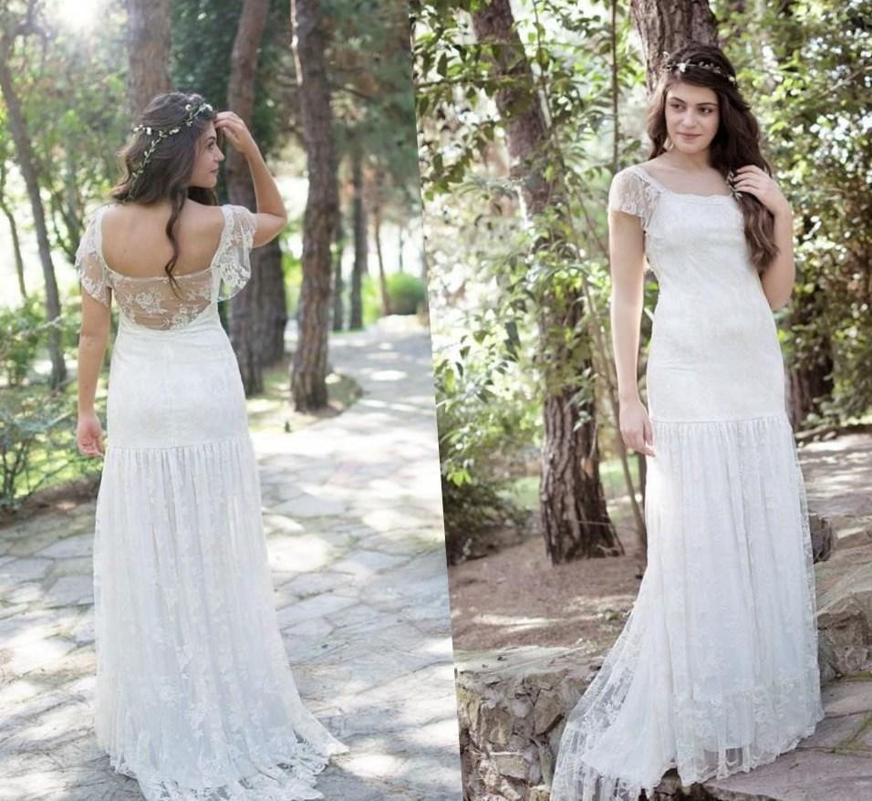 country chic wedding dresses bohemian wedding dress cheap lace illusion neckline button back wedding dress plus size boho and rustic vestidos de novia wedding