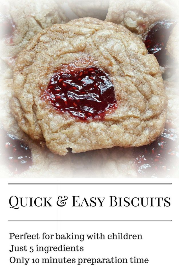 Quick and easy biscuit recipe. Perfect for cooking with children, this takes just 10 minutes to prepare and 25 minutes to cook. From zero to jammy biscuits in 35 minutes.