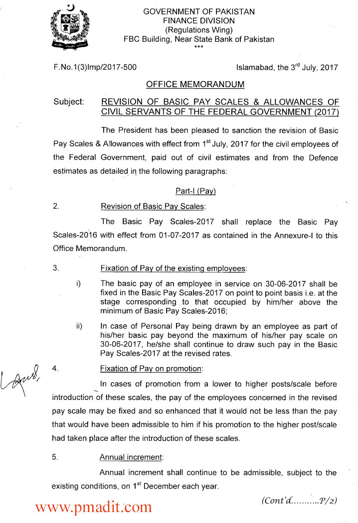 Revision of Basic Pay Scales  Allowances of Civil Servants of the
