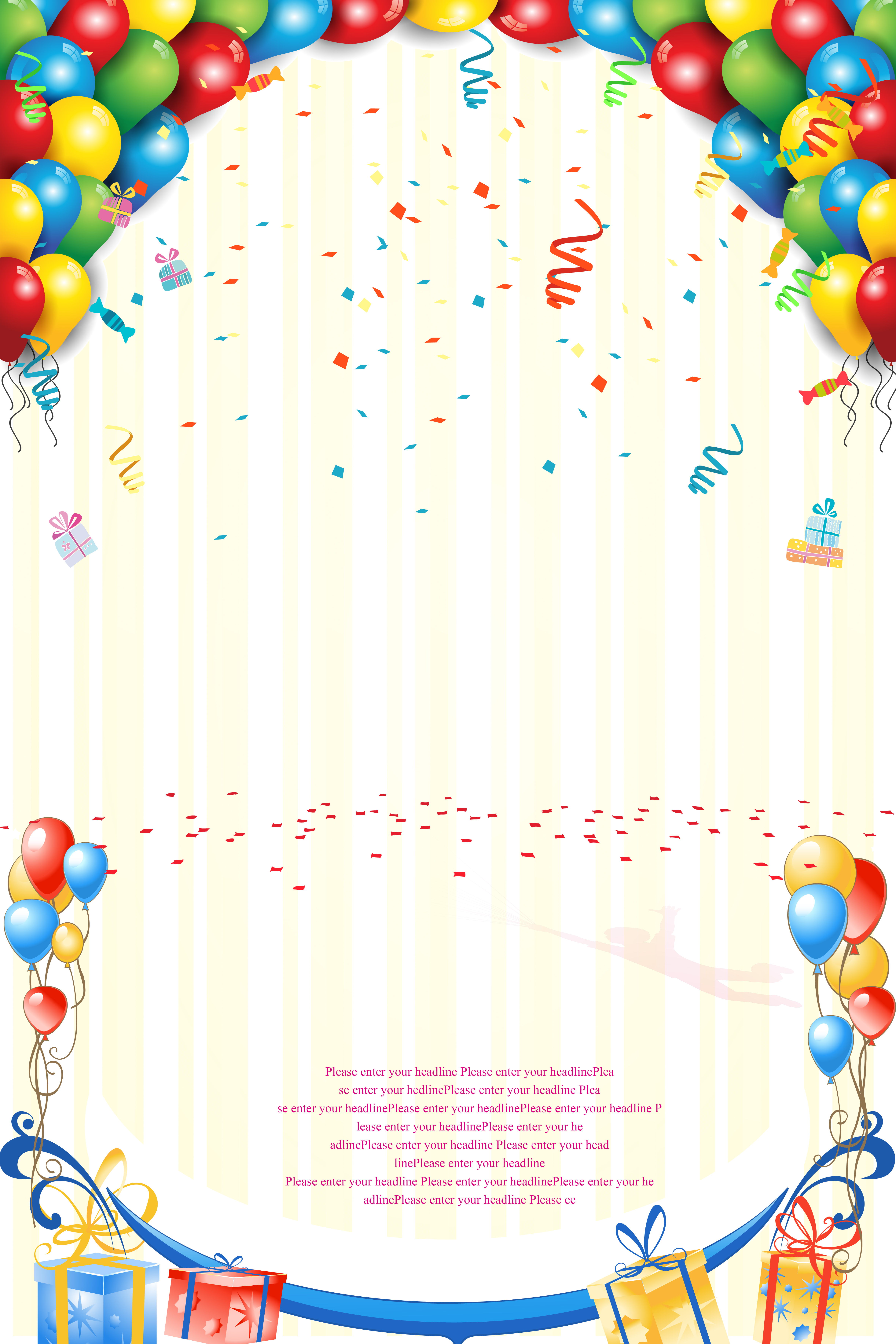 Fall Cartoon Wallpaper Colorful Ribbons Background Balloon Festival Poster
