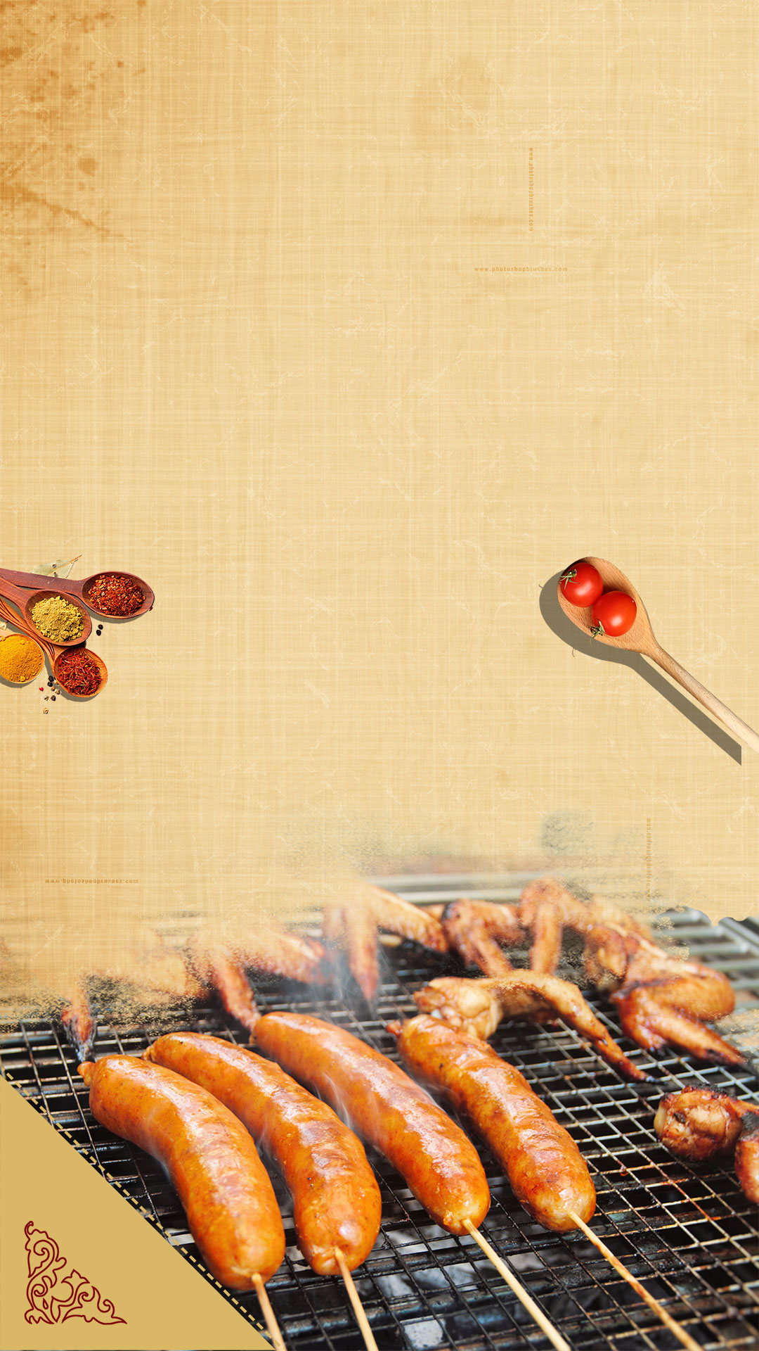 Cute Ribbons Wallpaper Bbq Chicken Wings Barbecue Chinese Wind H5 Background