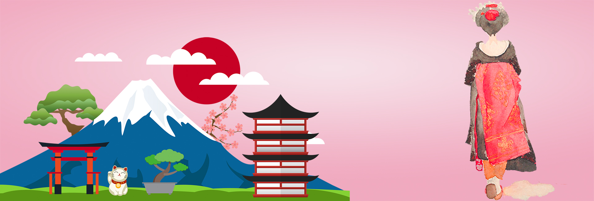 Autumn Tree Leaf Fall Animated Wallpaper Hand Drawn Wind Mt Fuji National Day Tour Of Japan Banner