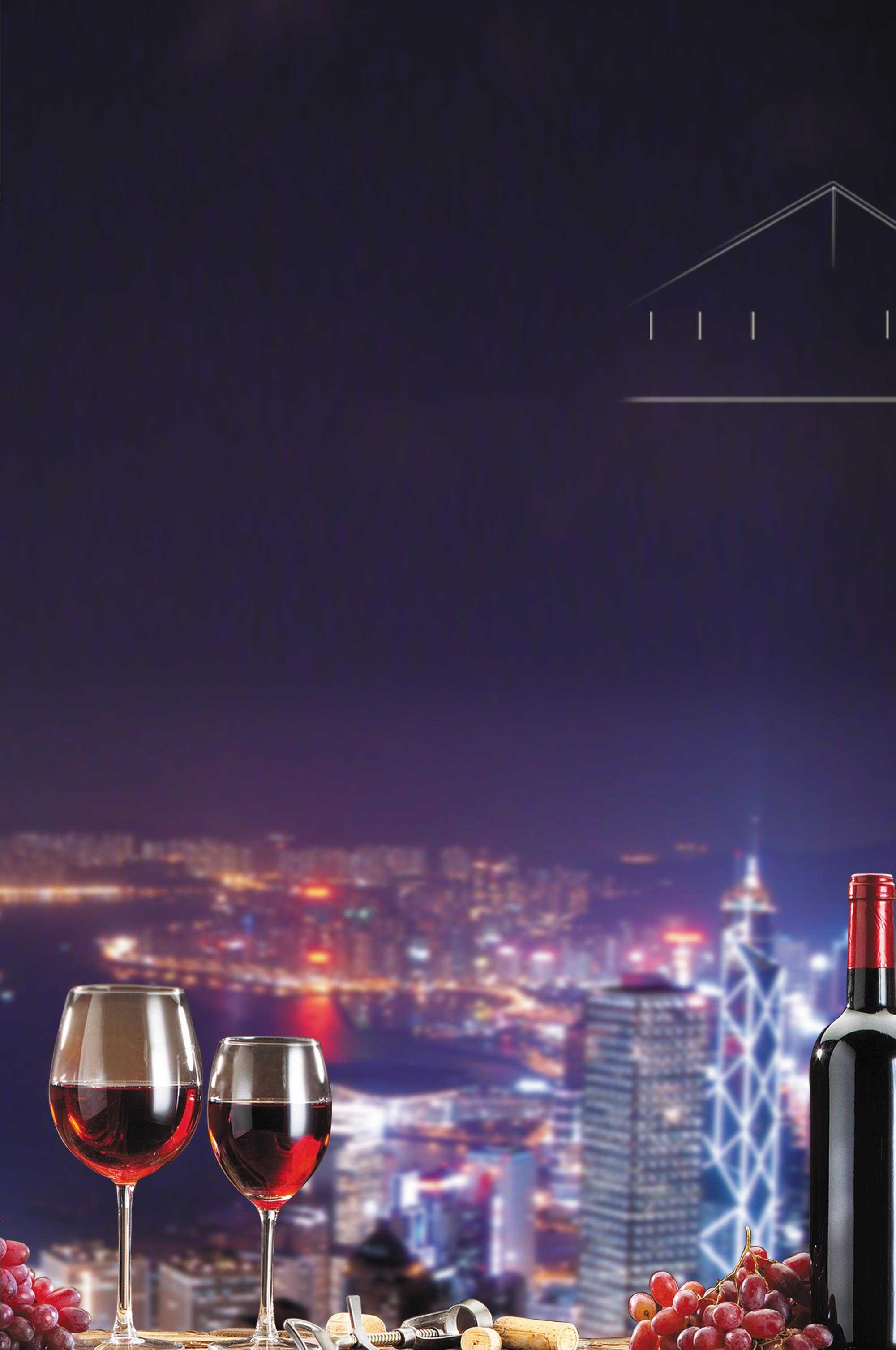 Wine 3d Wallpaper Business Cocktail Party Red Wine City Night Scene City