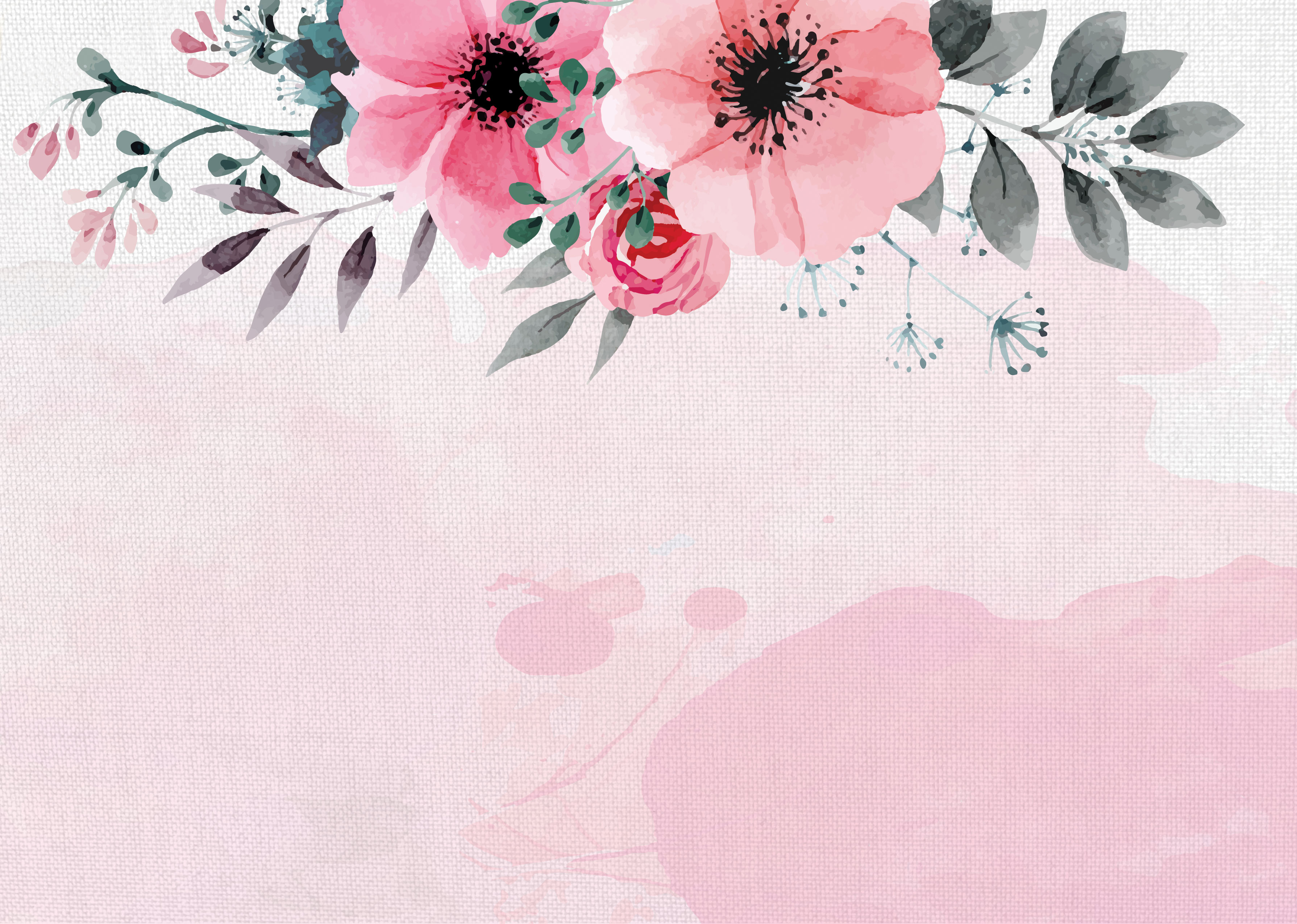 Fall Themed Wallpapers Cartoon Hand Painted Watercolor Flower New Autumn Poster