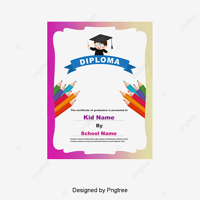 Kindergarten Graduation Certificate, Certificate, Colored Border