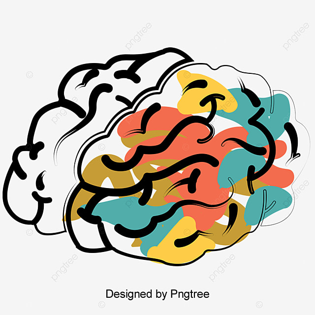 Vector Hand-painted Brain, Brain Vector, Vector, Hand Painted PNG