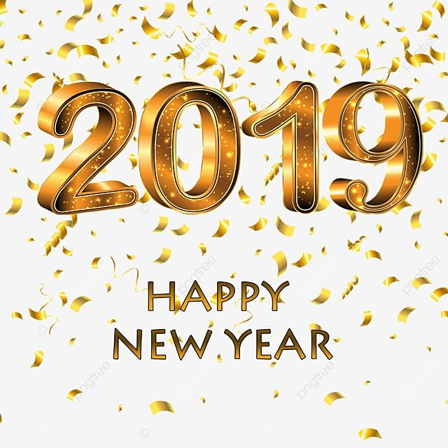 Happy New Year 2019 Golden Pictures, Happy, New, Year PNG and PSD