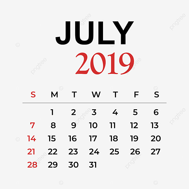 2019 Calendar July Month, Calendar, Year, Week PNG and Vector for