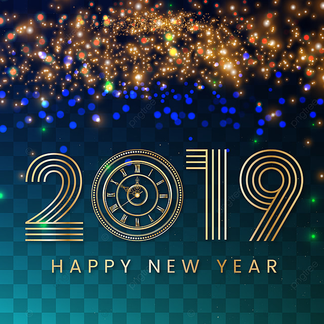 Happy New Year Background With Glitter Effect Transparent Background