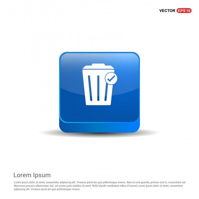 Delete Icon With Trash Bin - 3d Blue Button, Background, Basket