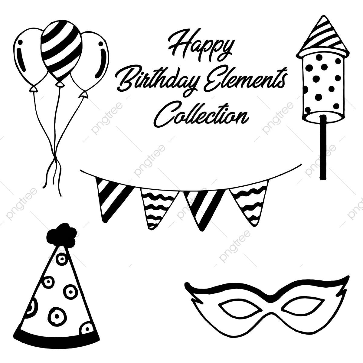 Party Hat Clipart Black And White Hand Drawn Birthday Elements Collection Black White Sketch Png