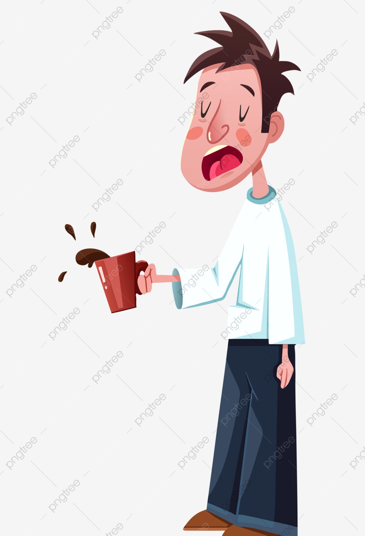 Yawning Boy Coffee Yawn Boy Png Transparent Clipart Image And Psd File For Free Download