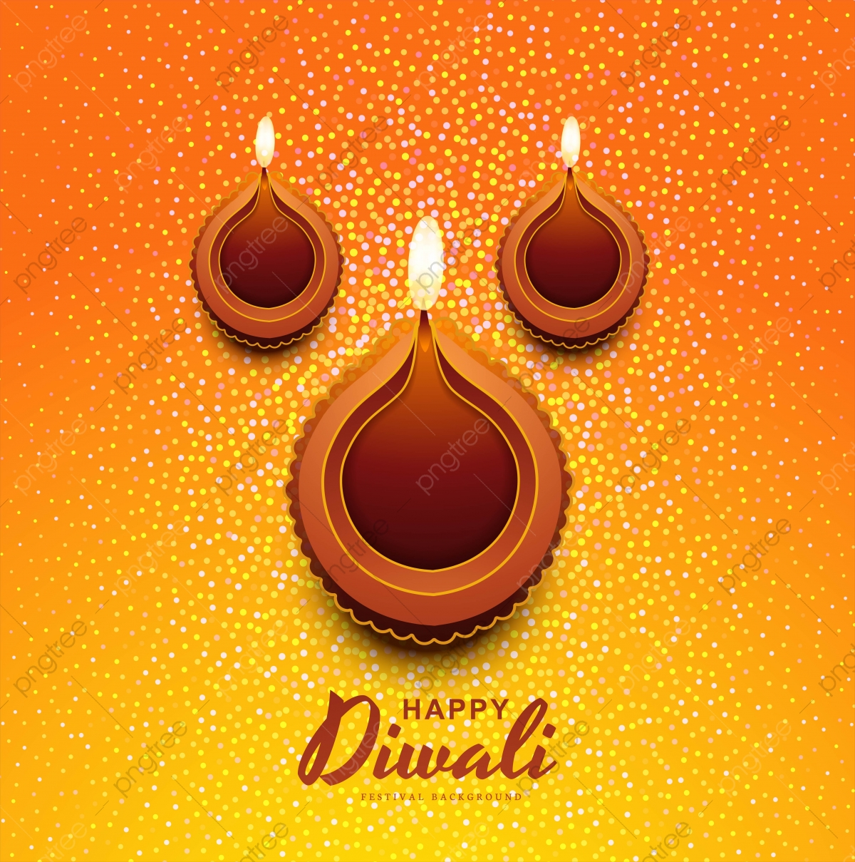 Happy Diwali Card With Glitters Decorative Diya Festival Background Abstract Light Diwali Png And Vector With Transparent Background For Free Download
