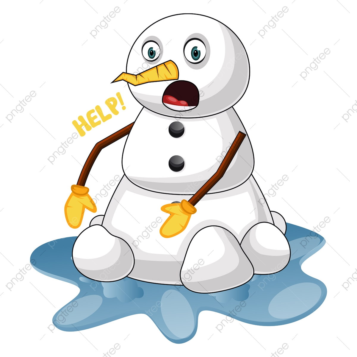 Melting Snowman Illustration Vector On White Background Decoration Graphic Man Png And Vector With Transparent Background For Free Download