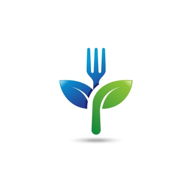 Healthy Food Logo Fork With Green Leaves Decoration Vector Icon
