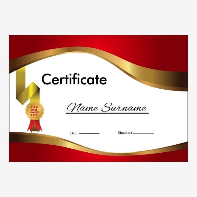 Certificate Layout Version With Luxury Gold Border, Certificate
