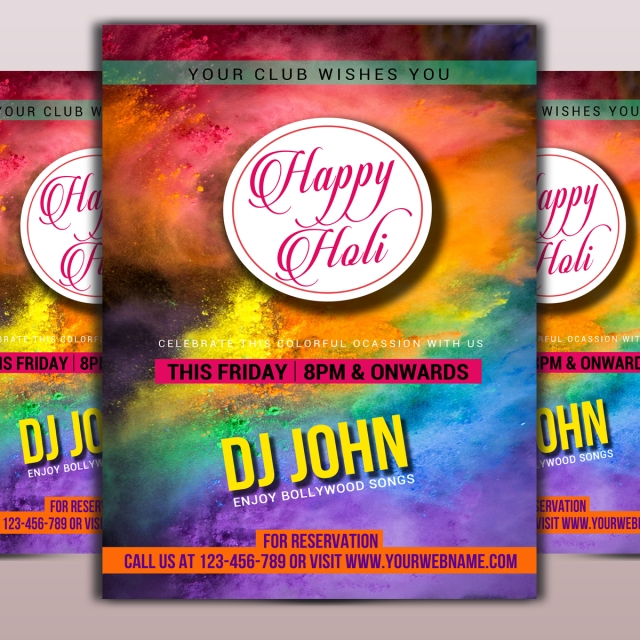 Holi Event Flyer Template Template for Free Download on Pngtree