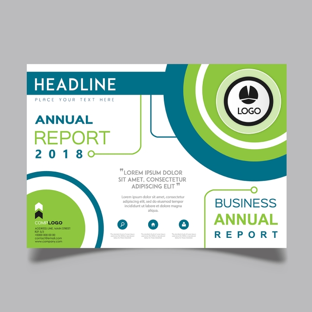 Horizontal Vector 2018 Annual Report Template for Free Download on