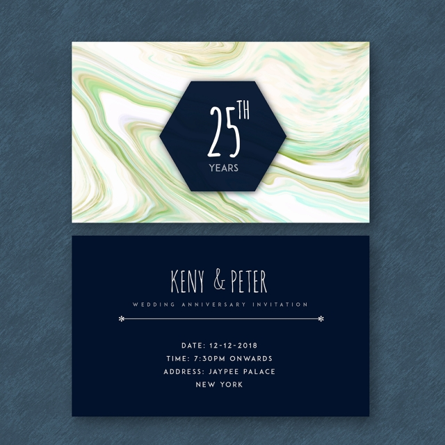 Marble textured 25th Wedding Anniversary Cards Template for Free