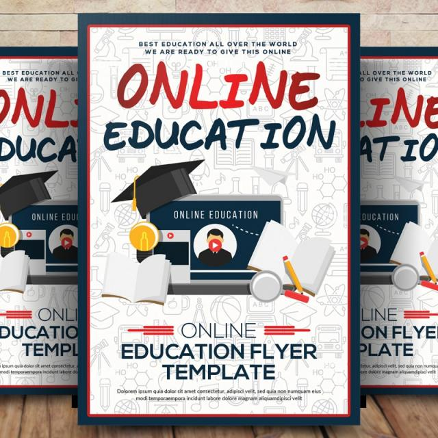 Online Education Flyer Poster Template for Free Download on Pngtree