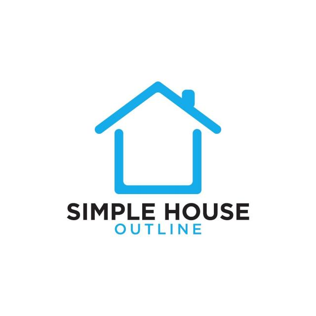 Simple line art blue house logo design template Template for Free