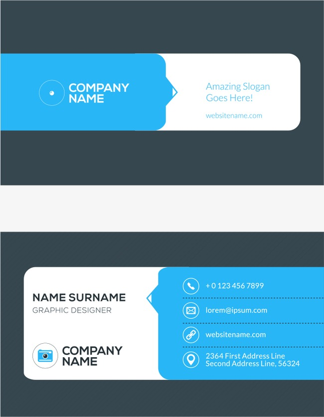 Simple Vector Blue Business Card, Business Card, Business Cards