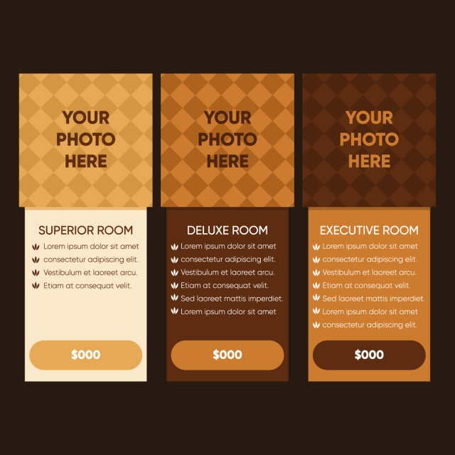 three tariffs interface for the site ui ux vector for web app