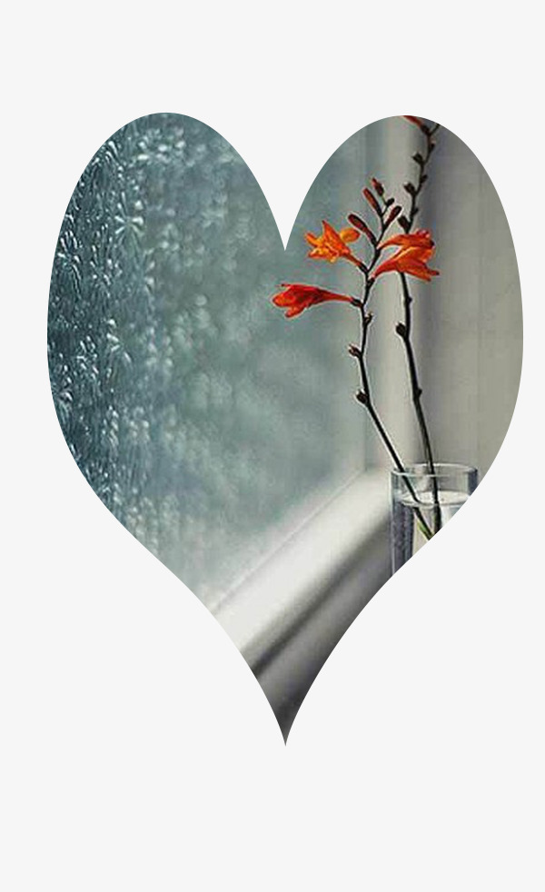 Vase On The Windowsill, Window, Raindrop, Heart Shaped PNG and PSD
