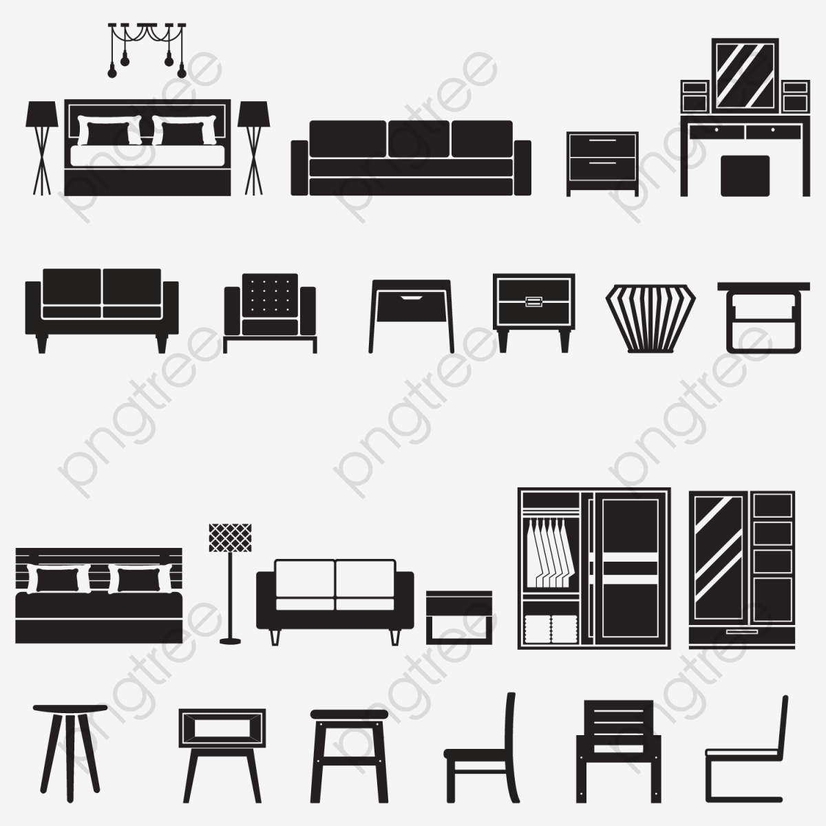 Sofa Set Vector Png Transparent Vector Furniture Icon Set Png Format Image With Size