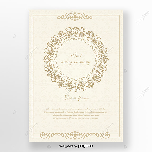 White European elegant funeral cards Template for Free Download on