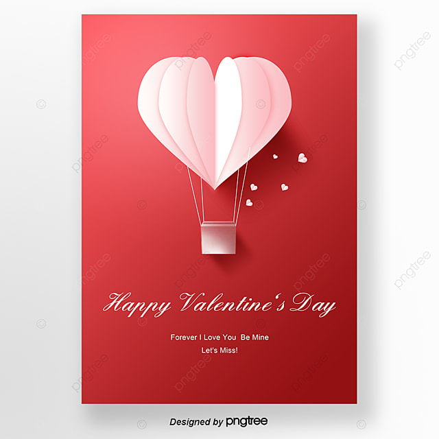 Red origami cards with exquisite style for Valentines Day Template