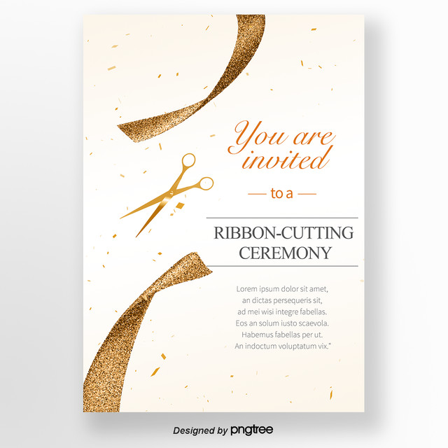 Golden concise opening ribbon-cutting invitation letter Template for