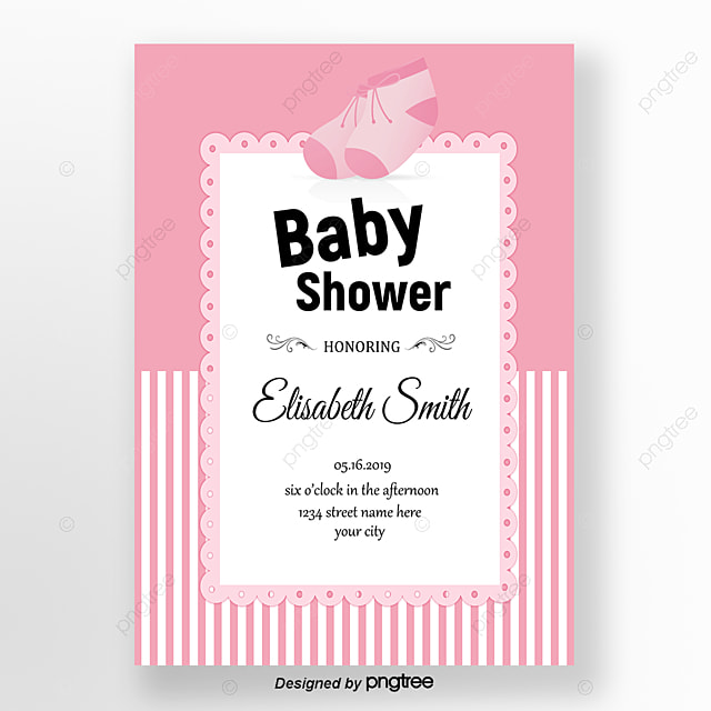 pink cartoon shoes baby shower invitation letter Template for Free