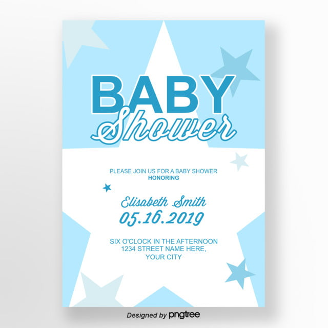 light blue lovely baby shower invitation letter Template for Free