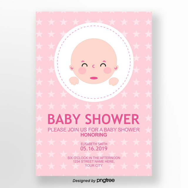 Light pink cute baby shower invitation letter Template for Free