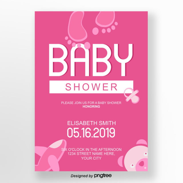 pink cute baby shower invitation letter Template for Free Download