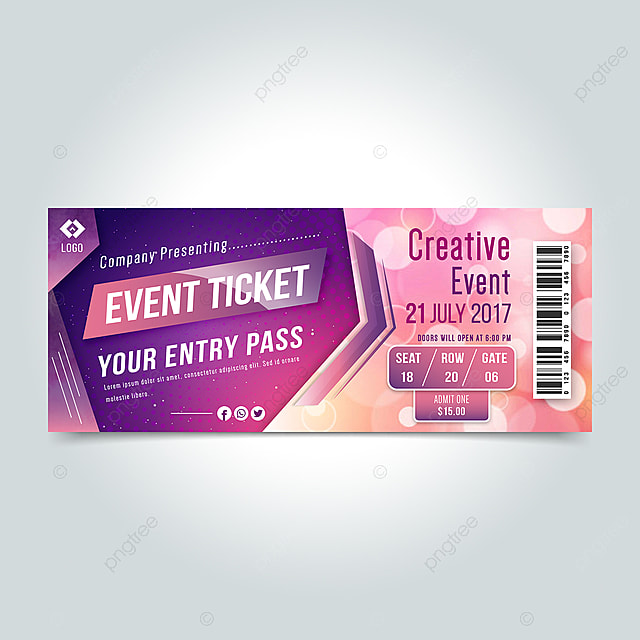 Creative Evento Entry Pass Ticket Design Template for Free Download
