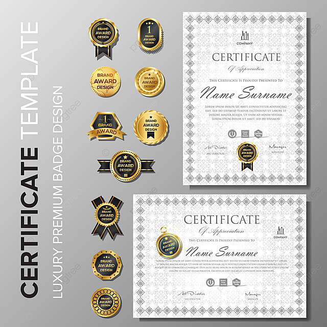 professional certificate with badge template Template for Free
