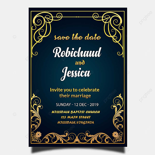 Large Frame For Poster Blue Vintage Wedding Invitation Card Template Psd With