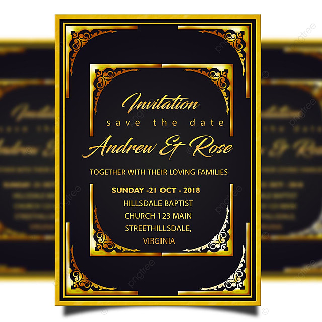 Invitation Card Template Psd Wedding Invitation Card Template Psd With Golden Border