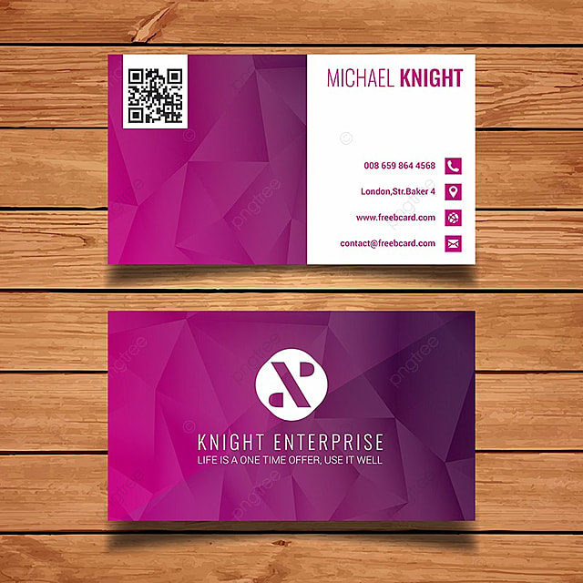 purple polygon business card template Template for Free Download on