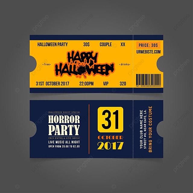 halloween invitation tickets Template for Free Download on Pngtree