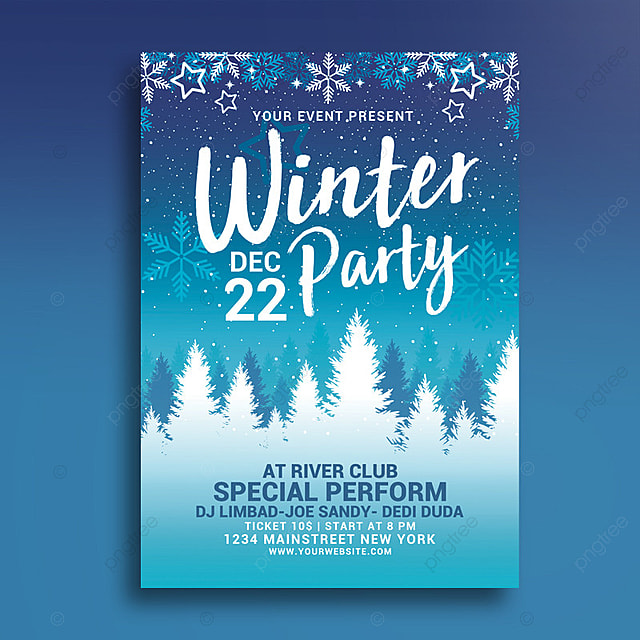 winter party flyer Template for Free Download on Pngtree - winter flyer template