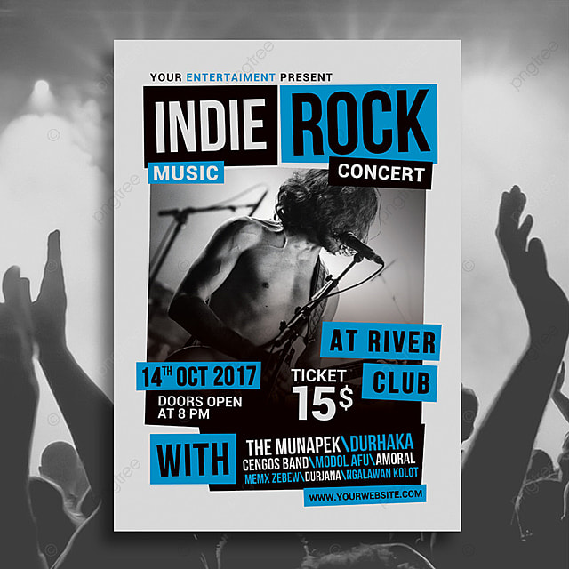 Indie Rock Music Concert Poster Template for Free Download on Pngtree