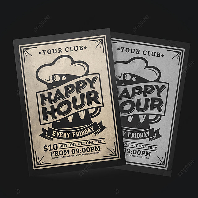 Happy Hour Vintage Flyer Template for Free Download on Pngtree - retro flyer template