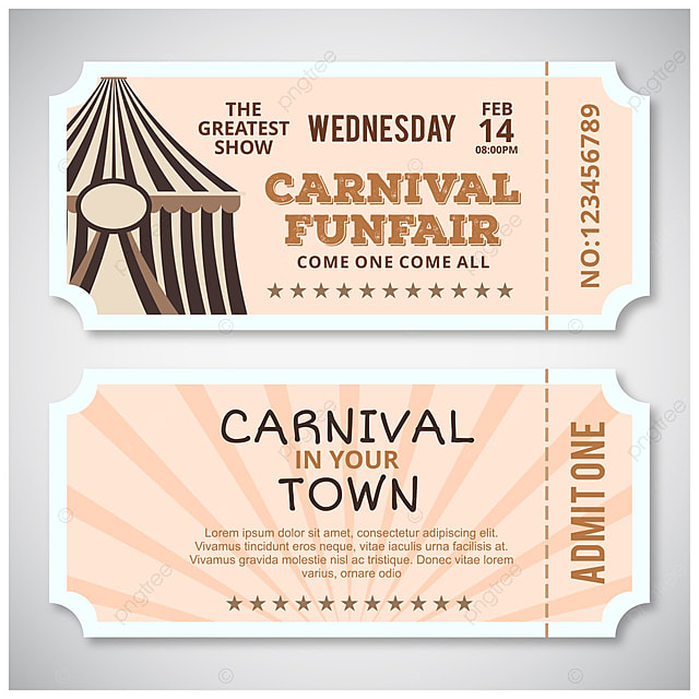 Carnival fun fair ticket design vector Template for Free Download on - fun voucher template