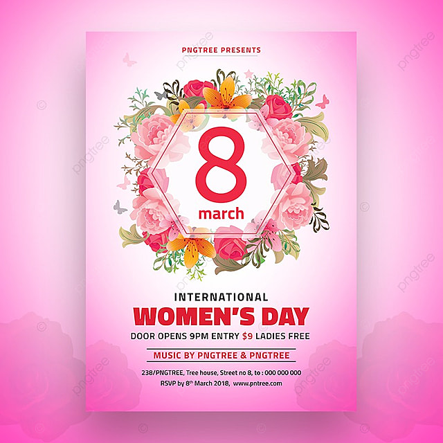 8 March Womens Day Flyer Template Template for Free Download on Pngtree