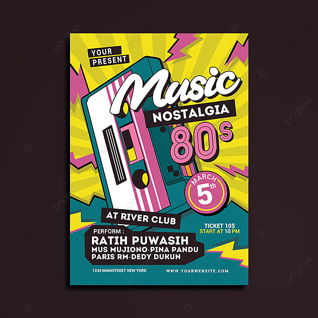 80\u0027s Music Event Flyer Template for Free Download on Pngtree