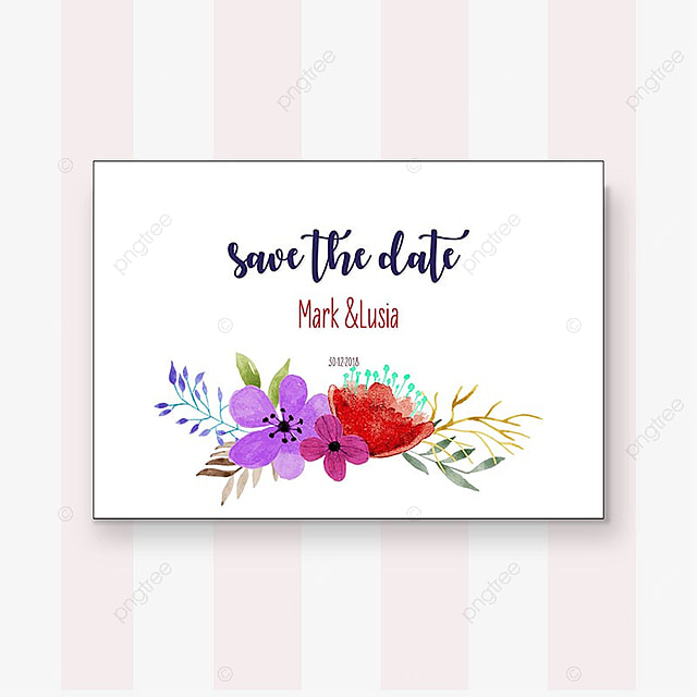 Floral watercolor wedding invitation Template for Free Download on
