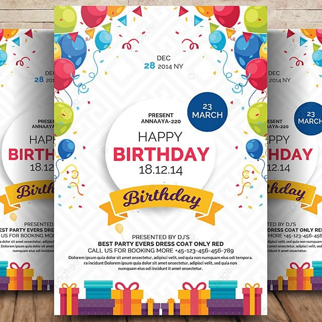 Happy Birthday Flyer Template for Free Download on Pngtree